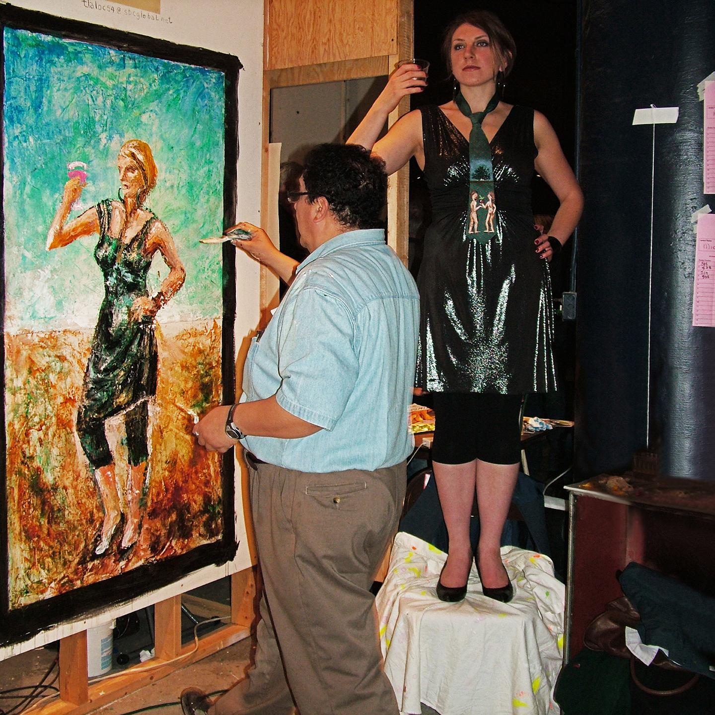 "Oscar Romero at Open Canvas, 2008  24"" X 24"""