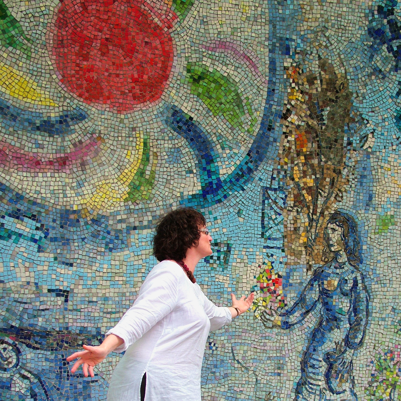 "Olga Semenova Receives Flowers from Marc Chagall, 2007  24"" x 24"""