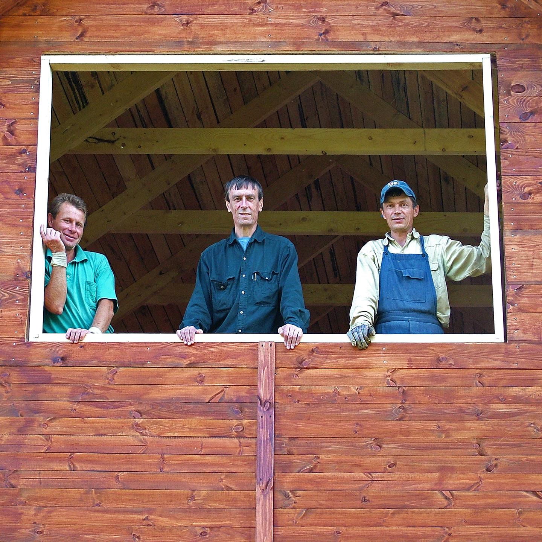 """Gennady Troshkov and Ukrainian Carpenters at Shestakovo 2004  24"""" X 24"""""""