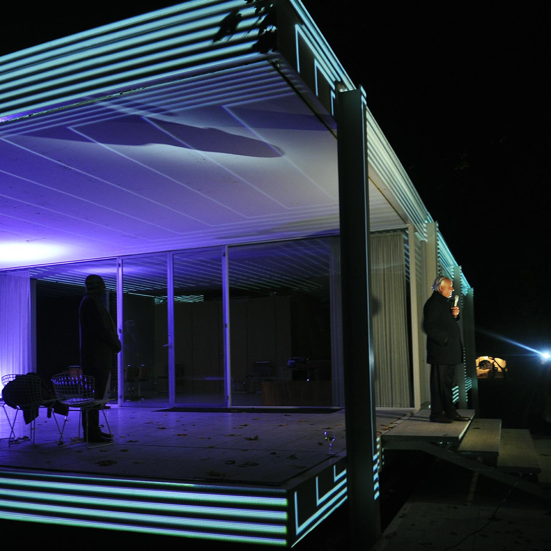 "Dirk Lohan at Farnsworth House for Luftwerk Project, 2014  24"" x 24"""