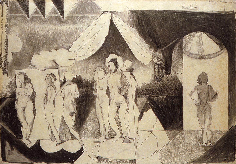 Burlesque, 1970  Graphite on paper
