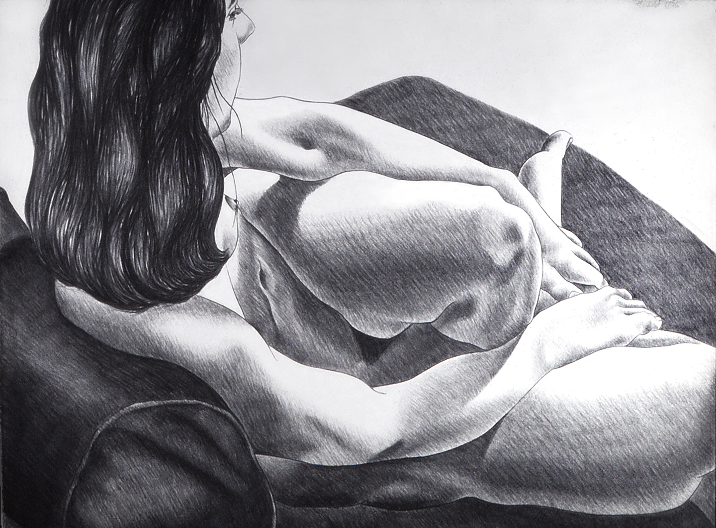 Liz as Muse, 1976  Charcoal on Rives BFK