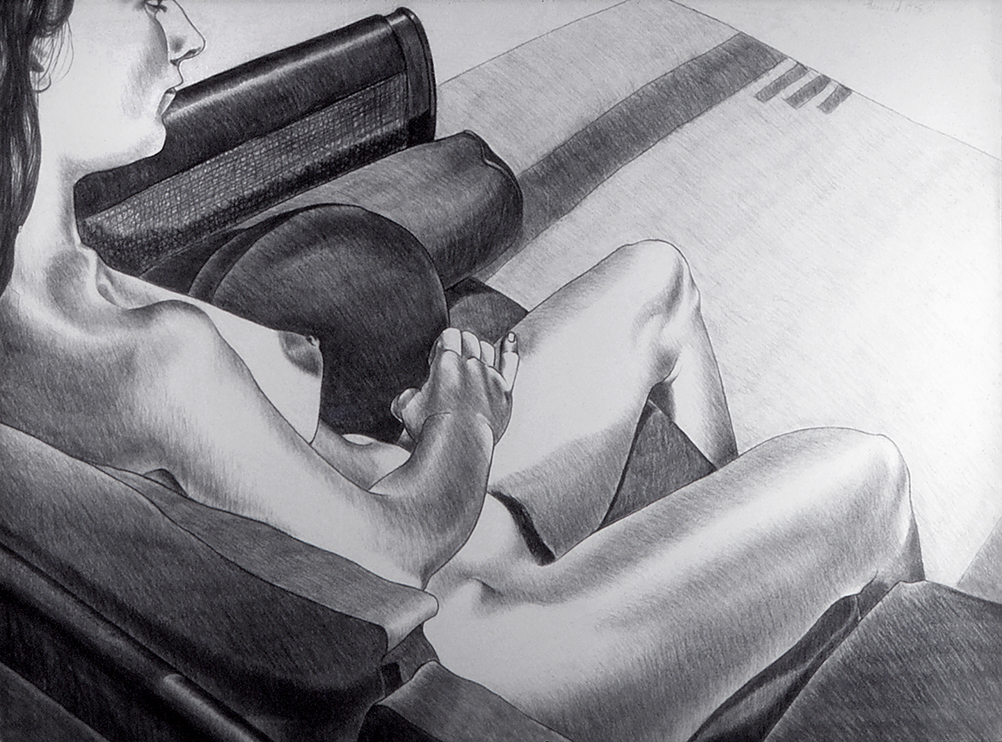 Debbie on Brown Sofa, 1975  Charcoal on Rives