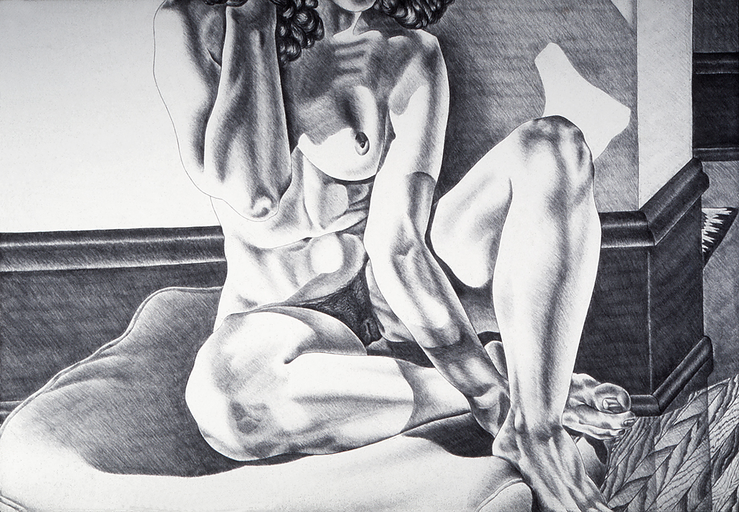 Model Seated on a Cushion, 1976  Charcoal on Rives