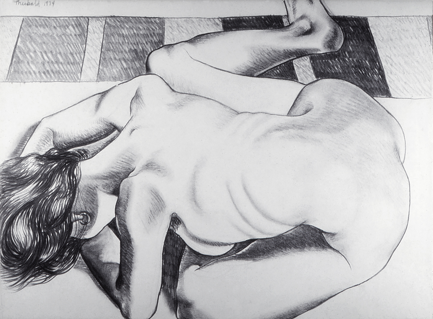 Stretching Model, 1974  Charcoal on Rives