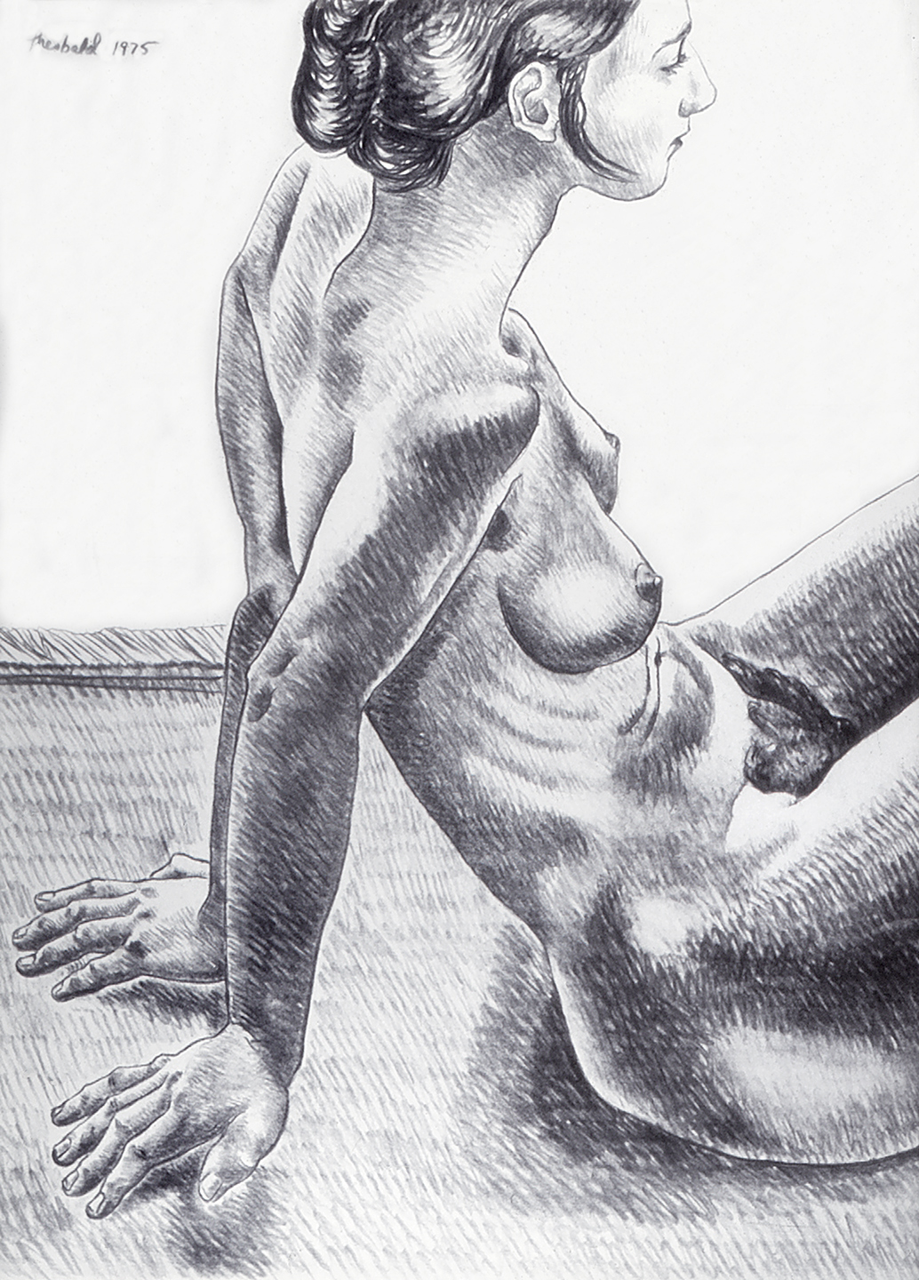 Sue as Muse, 1975  Charcoal on Rives