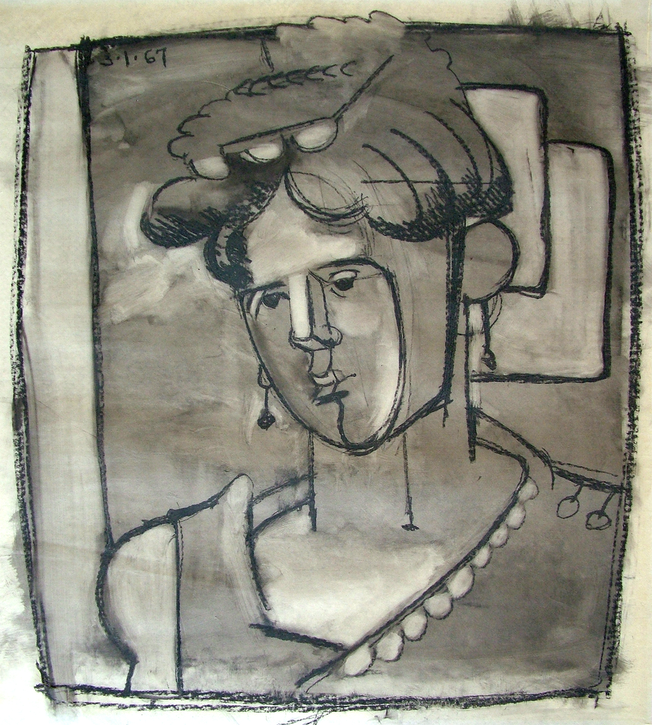Model with Earrings, 1967  Oil crayon on vellum