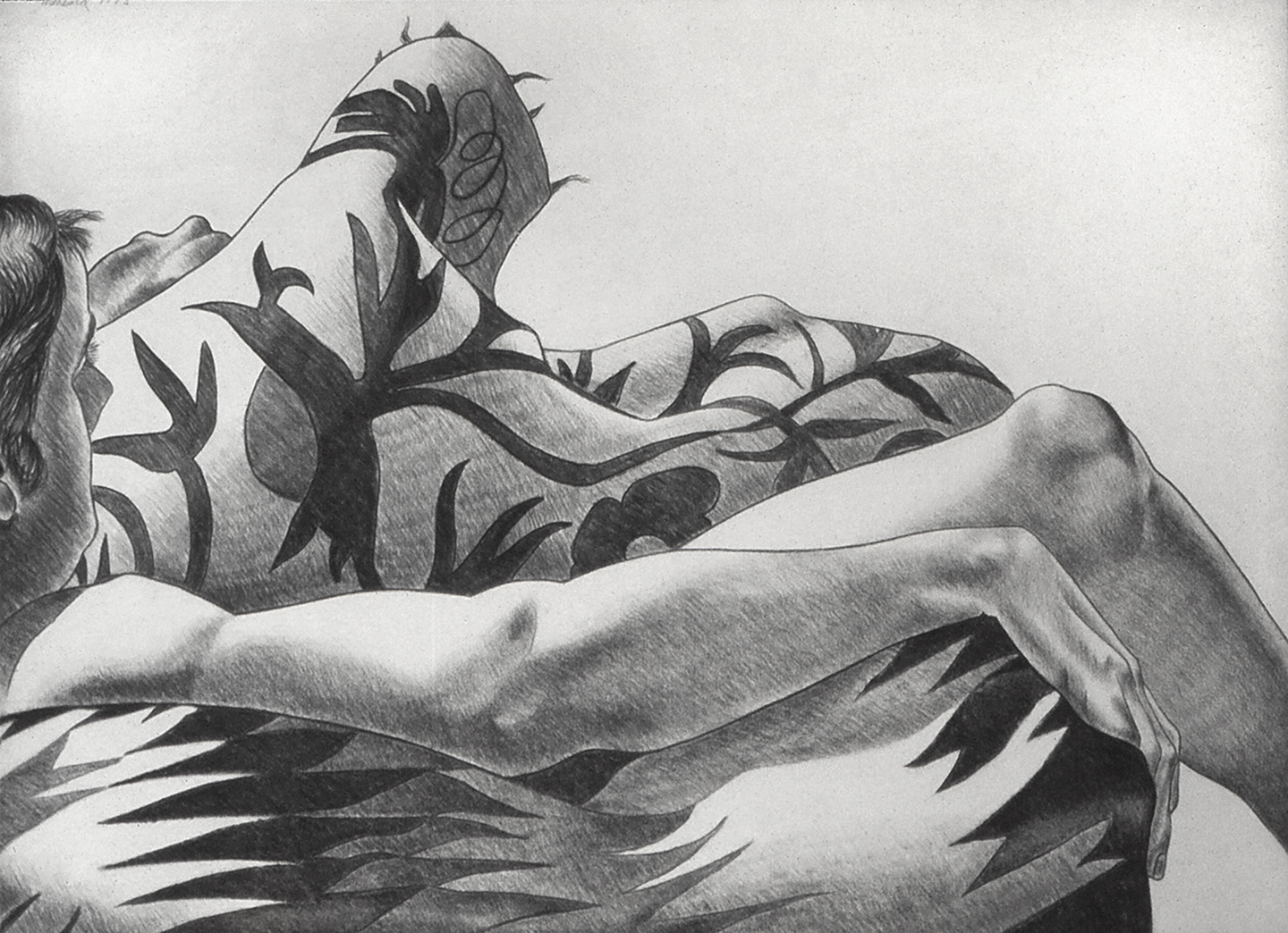 Fragments of a Male Nude, 1975  Charcoal on Rives