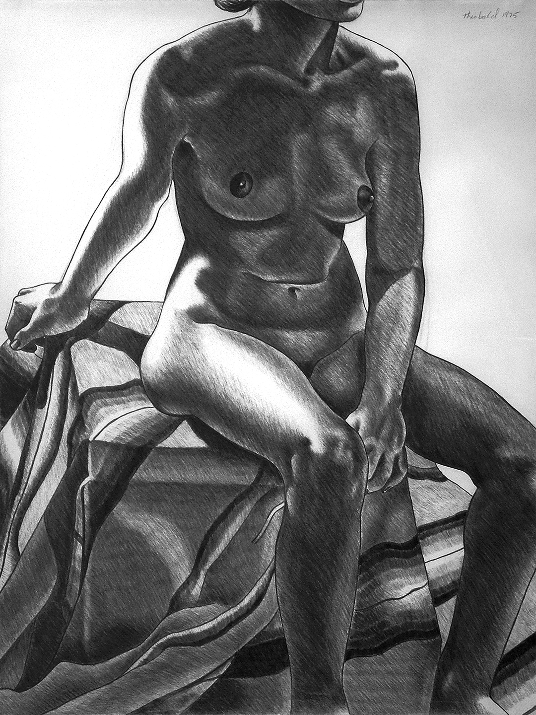 "Model with a Mexican Blanket, 1975  26"" x 20"" Charcoal on Rives"