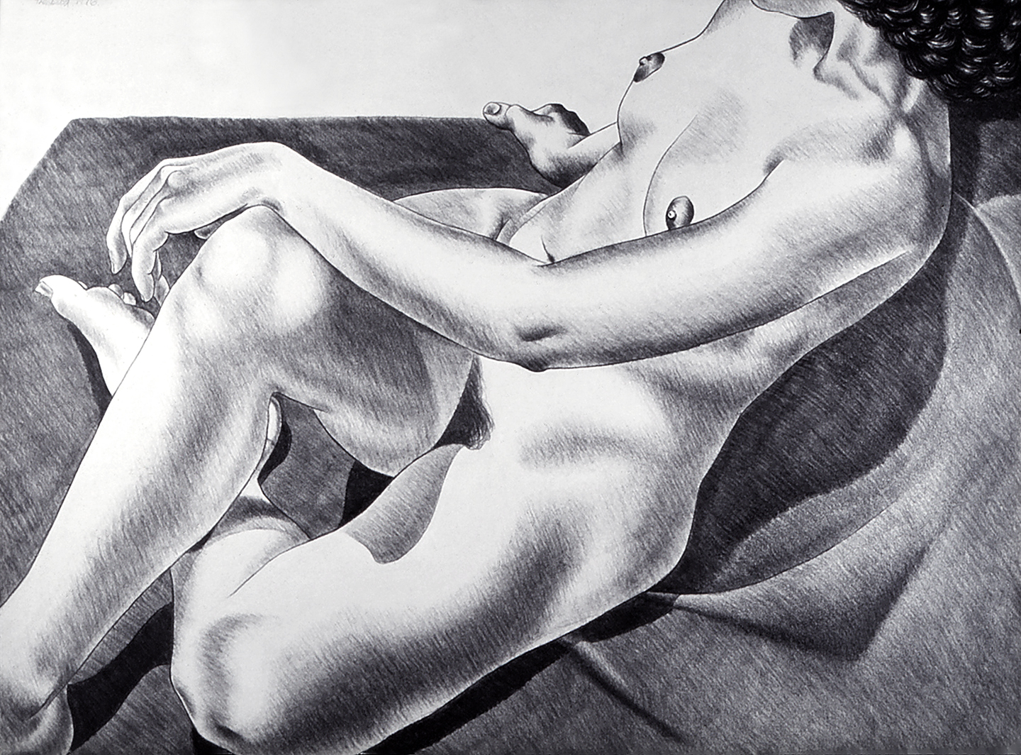 Laurie as Muse, 1976  Charcoal on Rives
