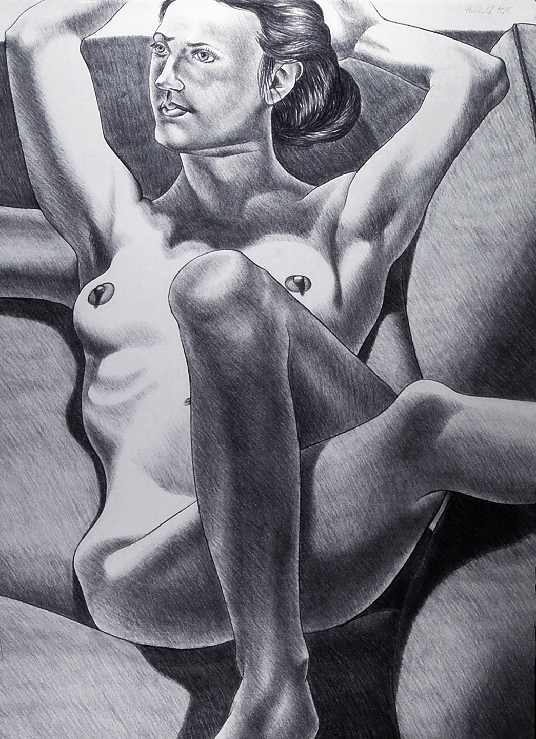 Model in Repose, 1975  Charcoal on Rives