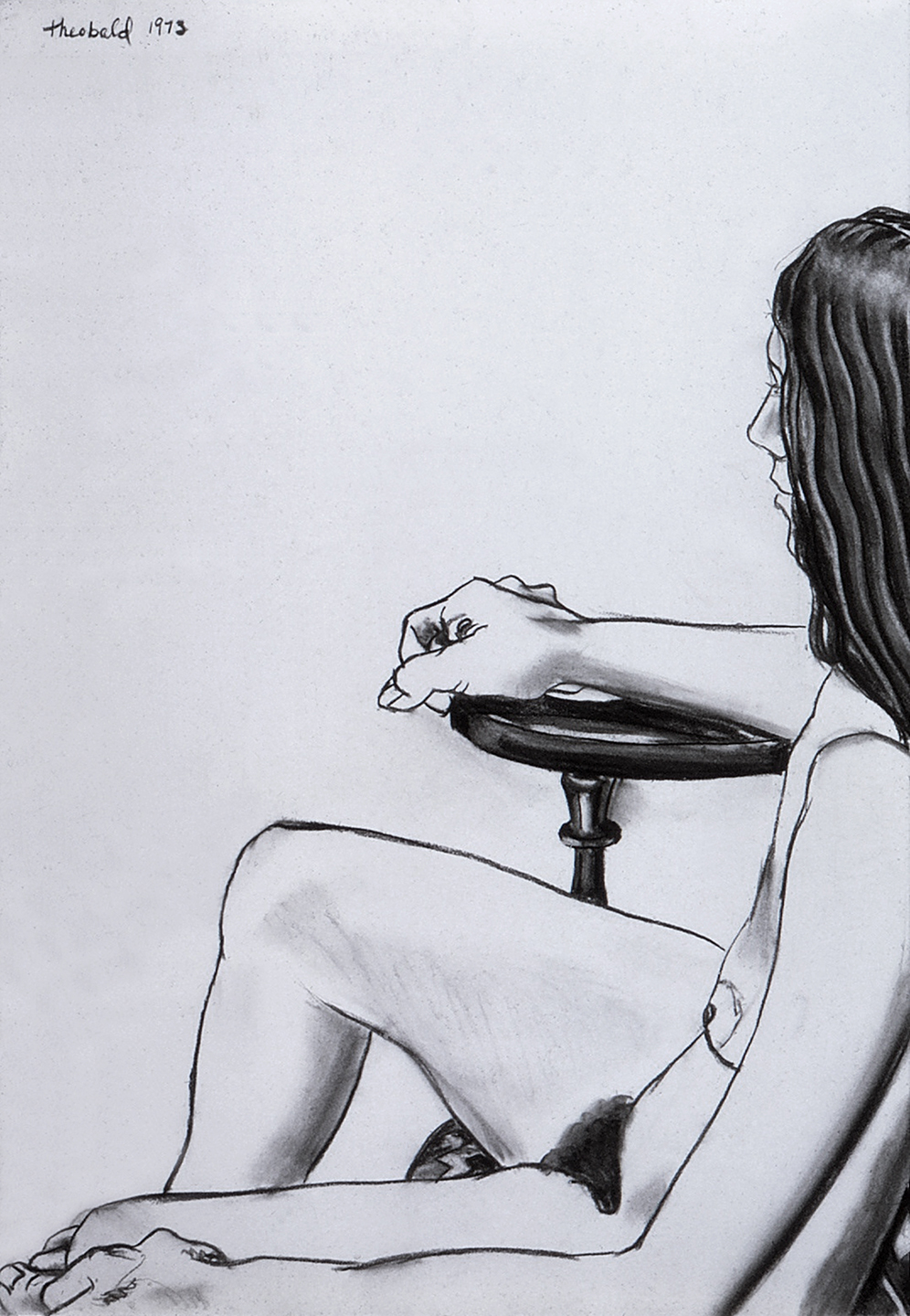 Nude in Chair, 1973  Charcoal on Rives