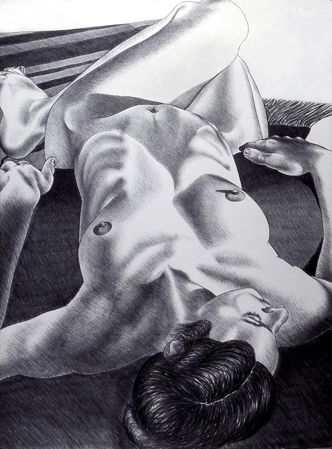 Nude on Cushion and Rug, 1975  Charcoal on Rives