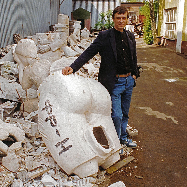 """Gennady Troshkov at the Bronze Graveyard, 1992  24"""" x 24"""""""