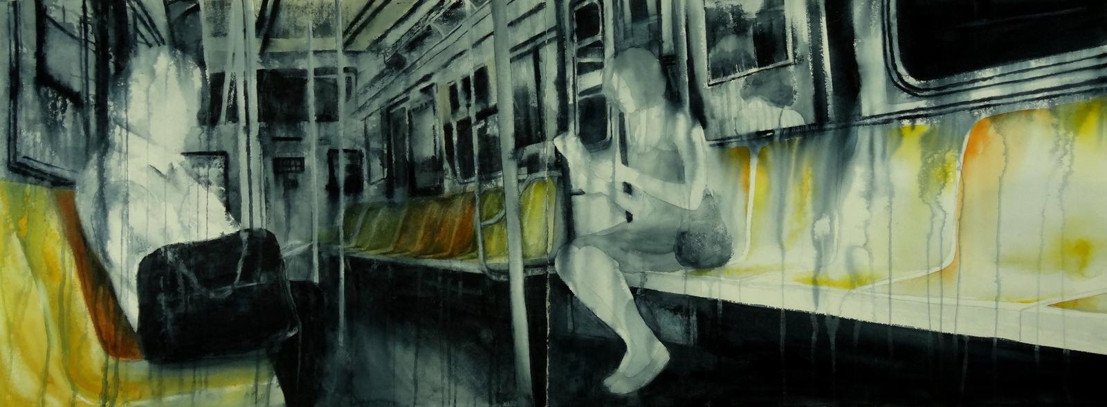 "HELD MOMENTARILY  22 x 60"" 2015"