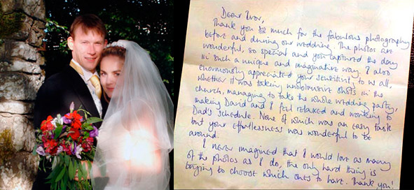 Testimonial   		 		    		 		 		 			   		 		 Dear Ivor,  Thank you so much for the fabulous photography before and during our  wedding. The photos are wonderful, so special and you captured the day  in such a unique and imaginative way. I also enormously appreciated your  sensitivity to us all, whether it was taking unobtrusive shots in the  church, managing to take the whole wedding party making David and I feel  relaxed and working to Dad's schedule. None of which was an easy task  but you effortlessness was wonderful to be around.  I never imagined that I would love as many of the photos as I do, the  only hard thing is trying to choose which ones to have. Thank you.  Alice and David  Dunblane, Perthshire