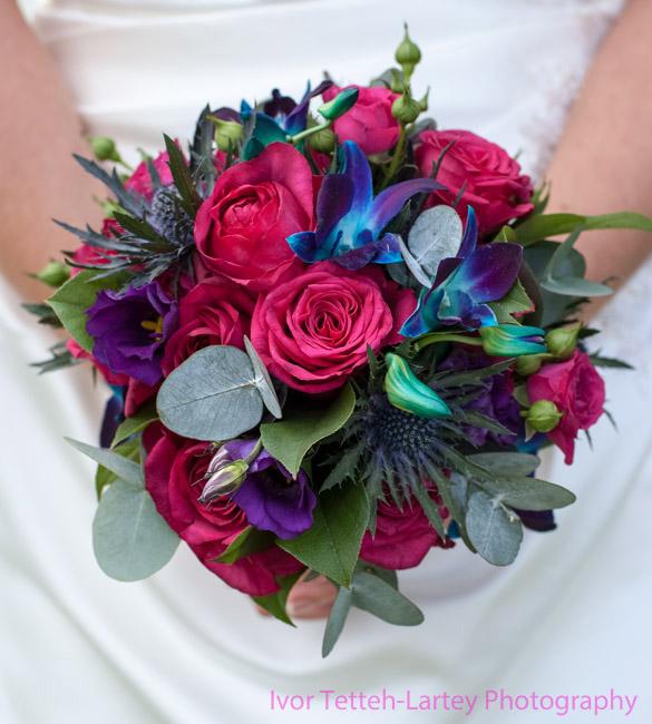 Wedding bouquet close up detail.