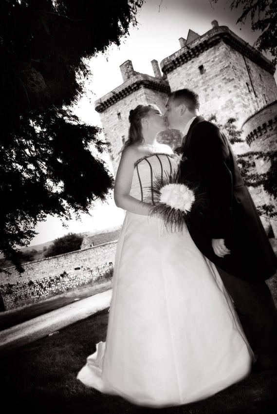A kiss outside Borthick Castle.