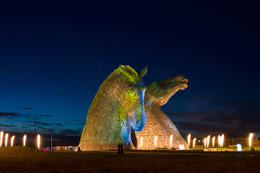 Night time event photography of the grand opening of the Kelpies.