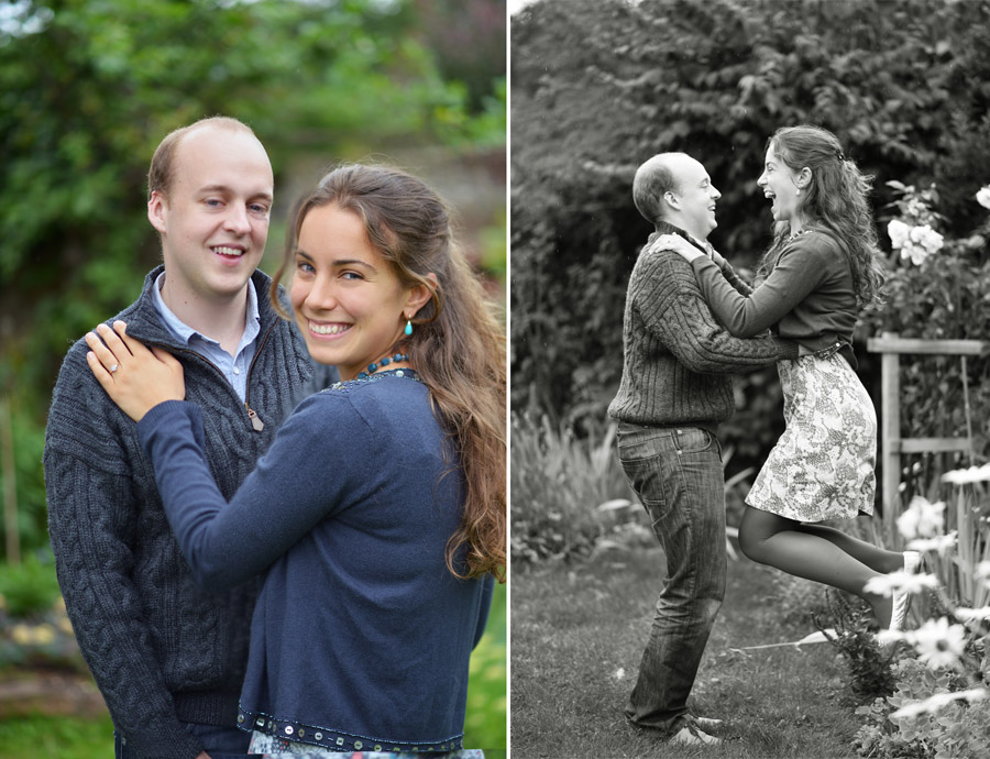Capturing fun moments during an engagement session helps relax the happy couple.