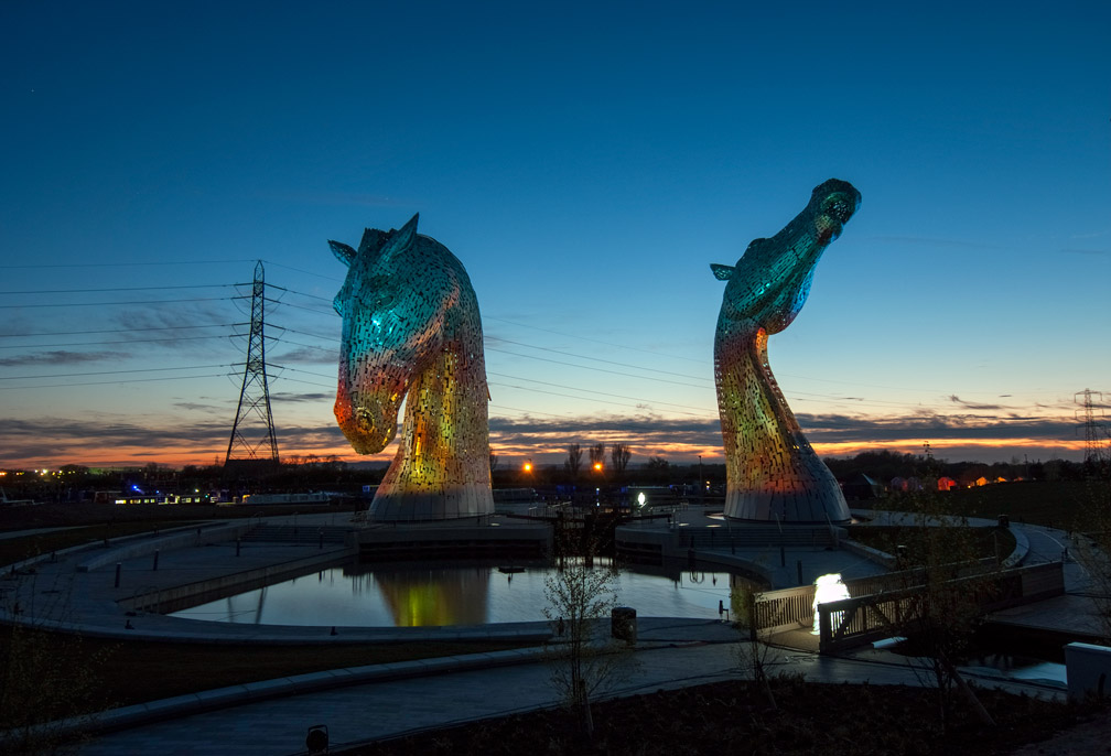 The kelpies at dusk. I decided to add a couple more views of this modern sculpture.
