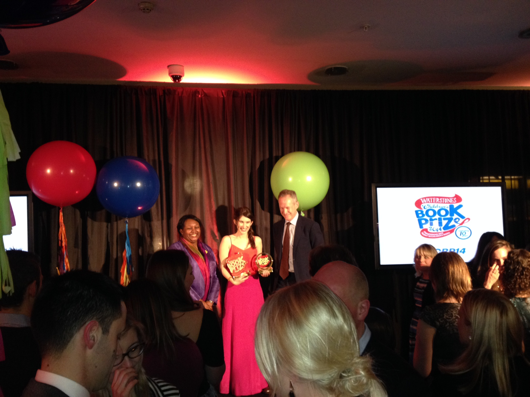 Katherine Rundell, author of Rooftoppers, collects her prize. Congratulations, Katherine!