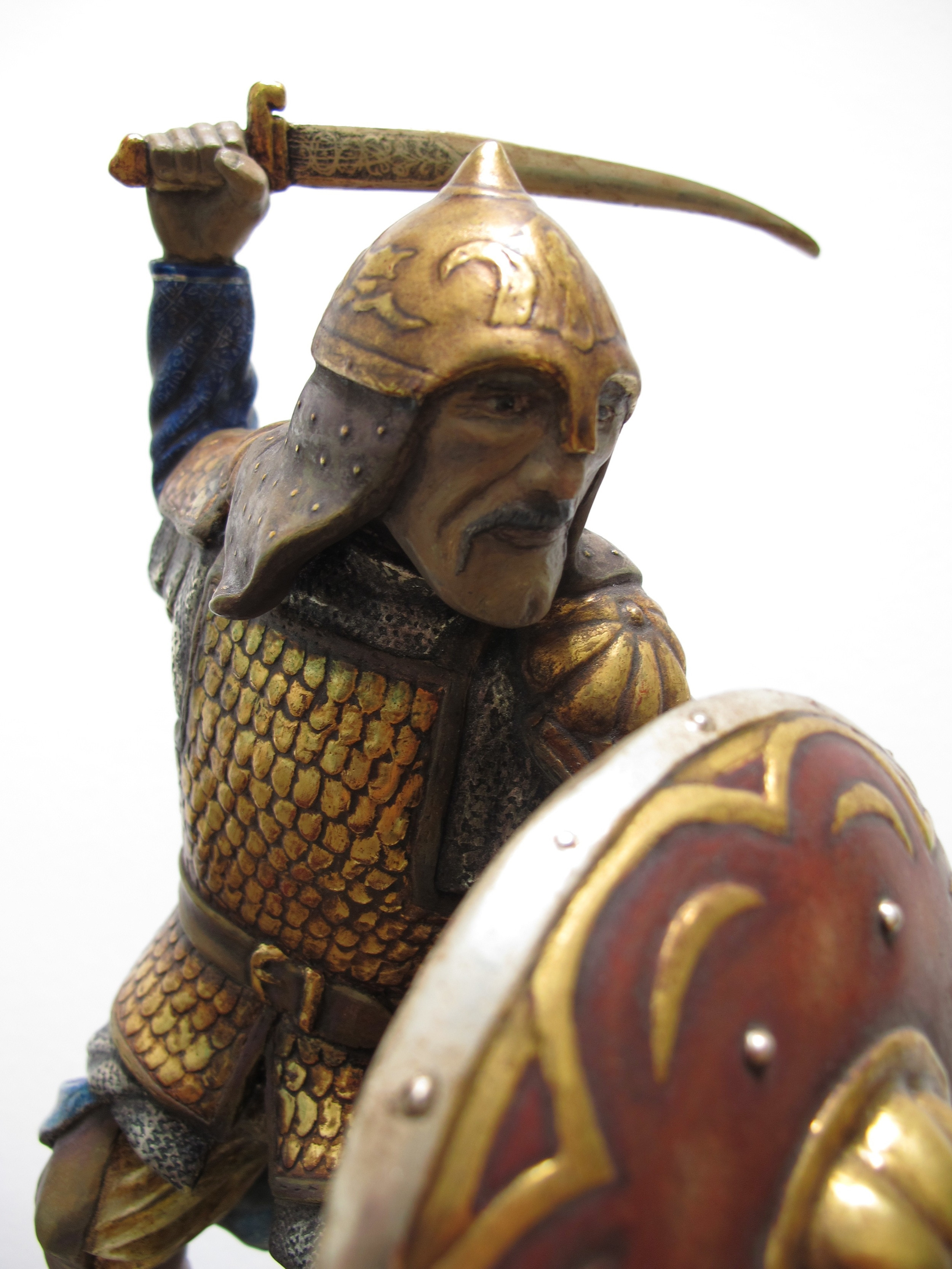 This Saracen figure, representing a saracen knight from the 13th century,is also carved from basswood. It is characterized by the fine surfacing of the coat and armor.
