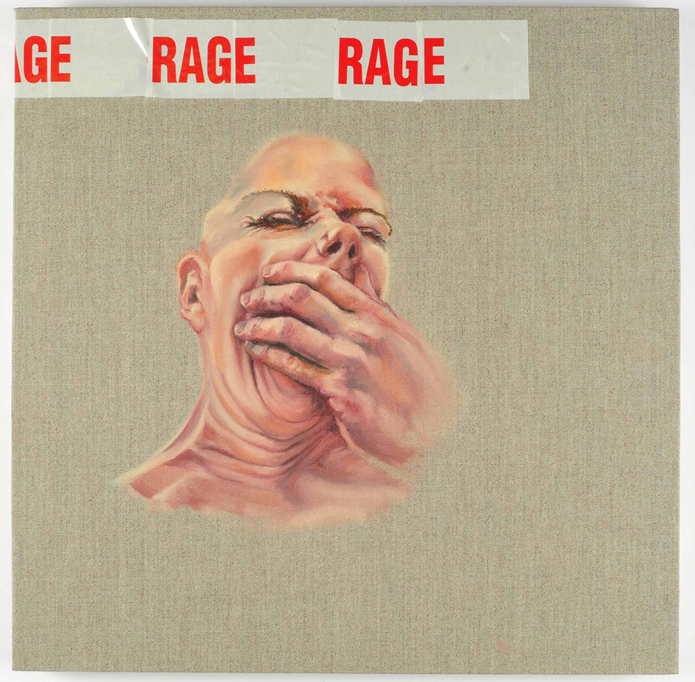 rage, 2011, 40x40cm, oil and tape on canvas