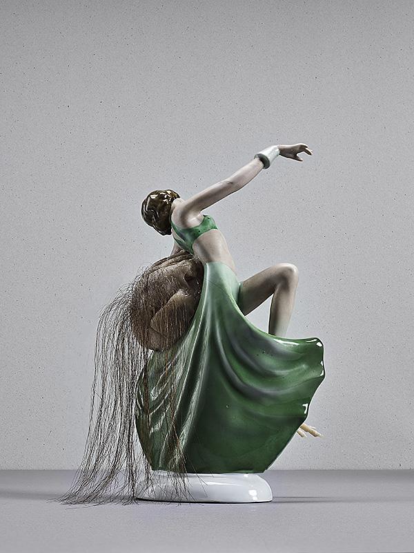 untitled (dancer), porcellain, silicone, human hair, 20 x 8 x 10 cm,2015