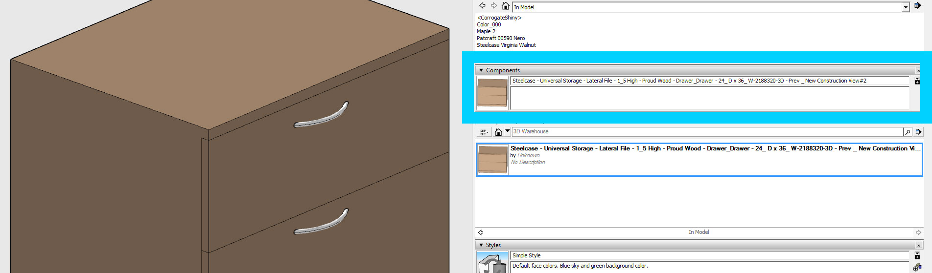 A simple component with a critical flaw - a name that's too long (144 characters).Ensure your SketchUp components have names less than 128 characters in length if you want to import your .skp file into 3ds Max 2016 / 2017.