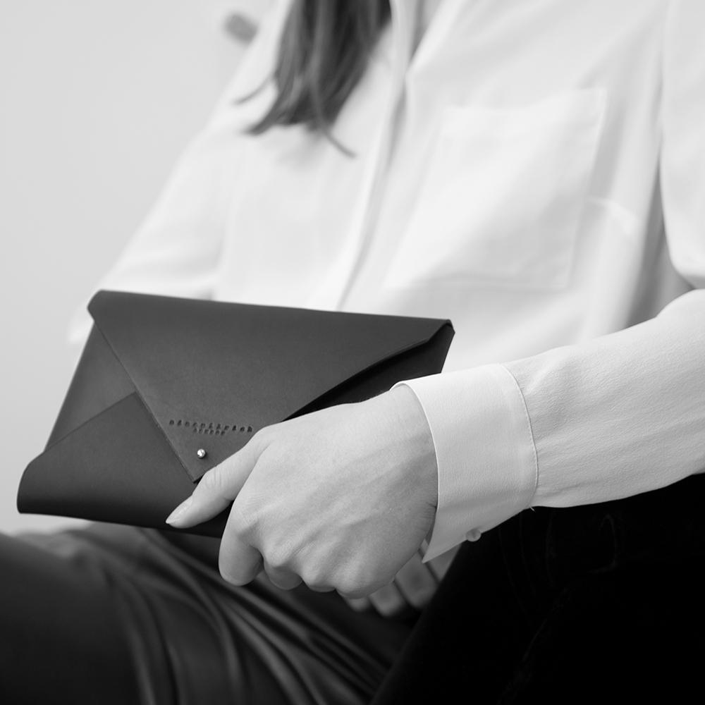 Leather Envelope Clutch - all black (medium)_model.jpg