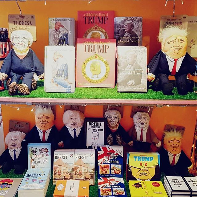 We don't know whether to laugh or cry . Political merch at our @boxpark #shoreditch store THE PLAY BOX ! #brexit #trump