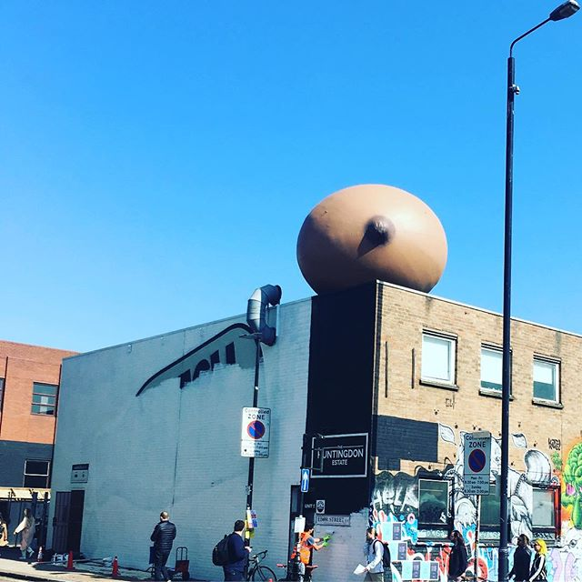 Loving the giant boob opposite @boxpark #shoreditch in support of breast feeding in public. #freethefeed