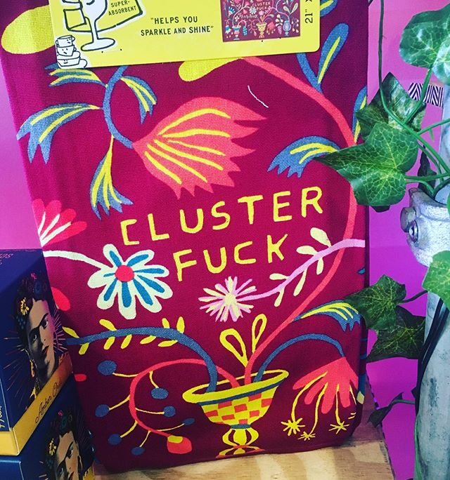The awesome CLUSTER FUCK dish towel now available to buy from our @boxpark #shoreditch store THE GIFT BOX 😊😊😊