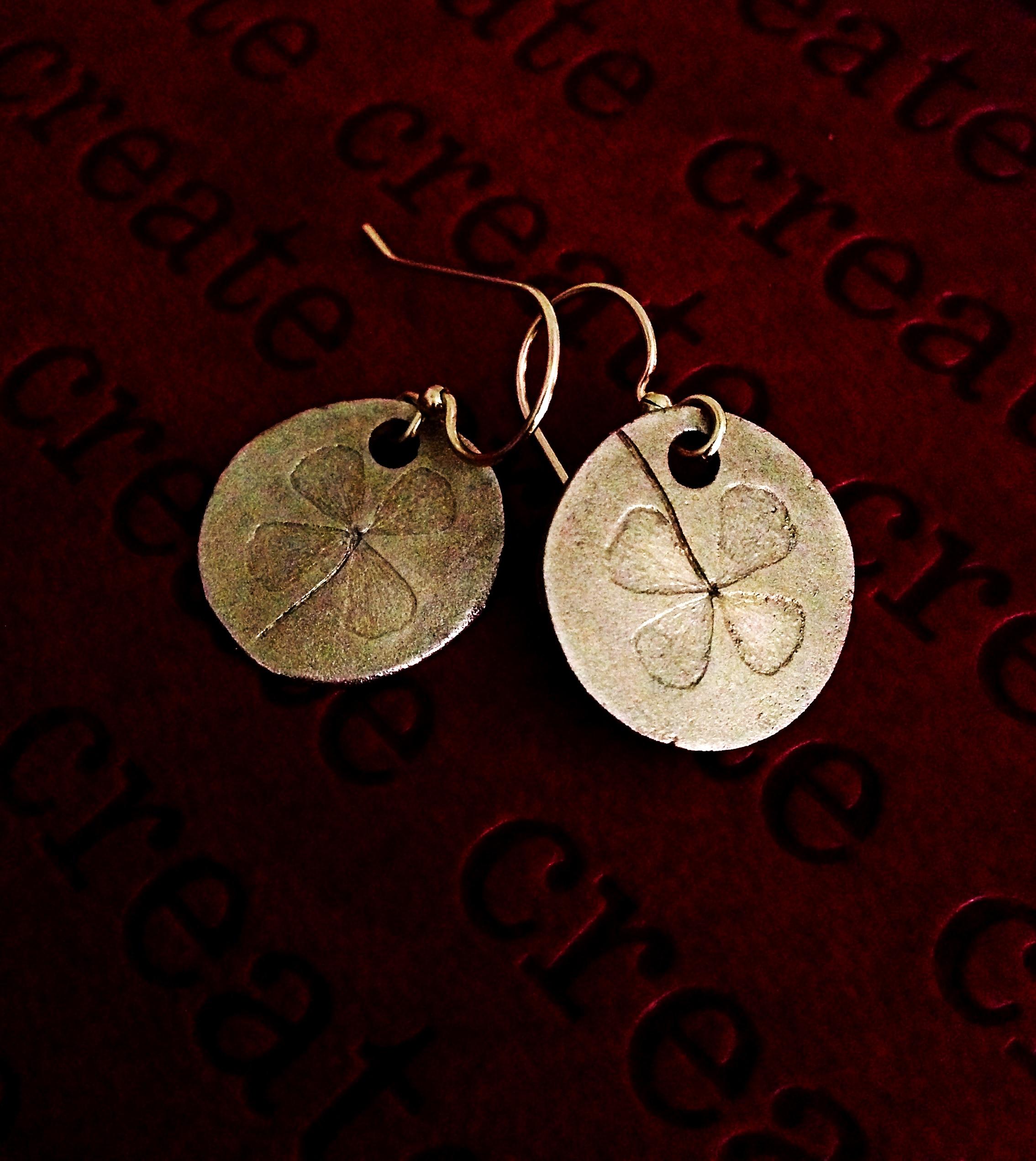 Four Leaf Clover Earrings  Bronze