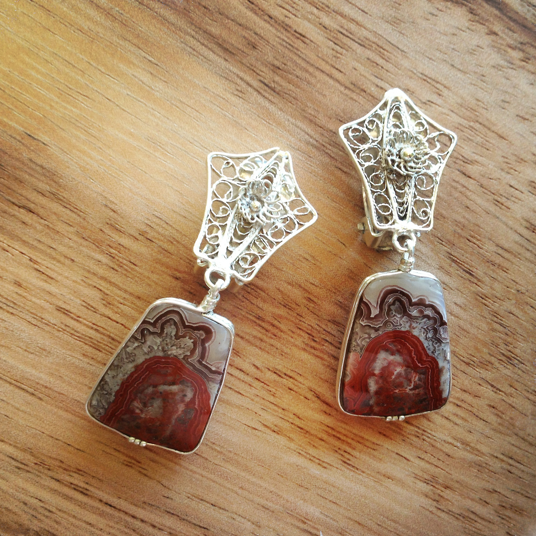 Lace Agate and Antique Filigree Earrings  Private Collection