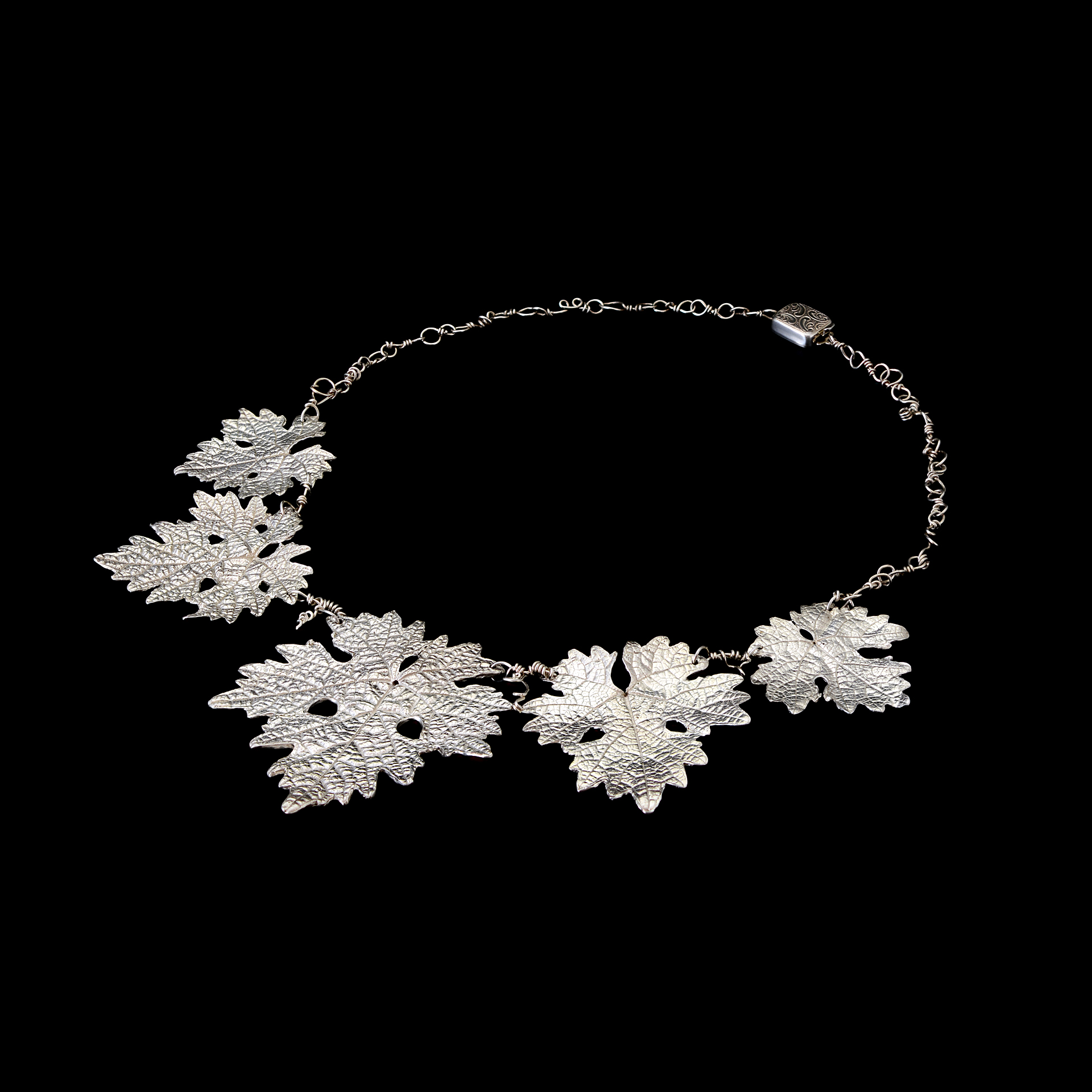 Grape Leaf and tendril chain Necklace  Recycled Fine Silver, Sterling