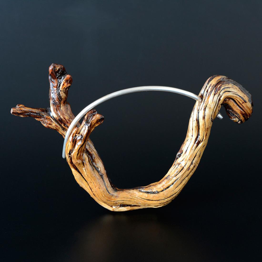 Wood Bangle Bracelet  Wood, sterling