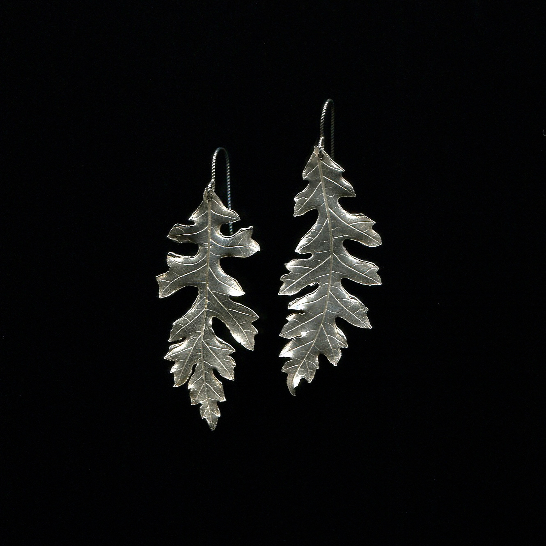 Oak Leaf Earrings  Recycled Fine Silver