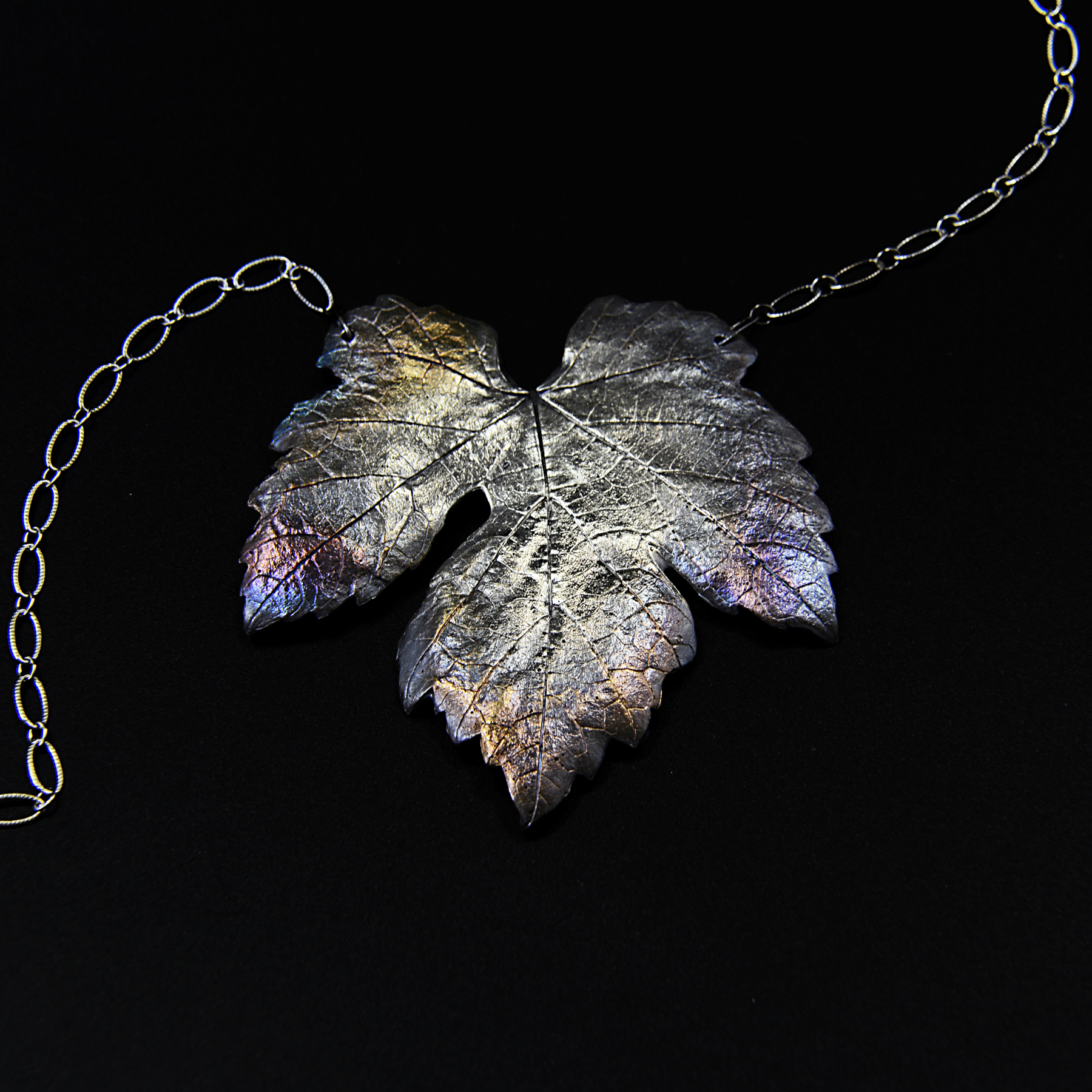 Grape Leaf Necklace  Recycled Fine Silver