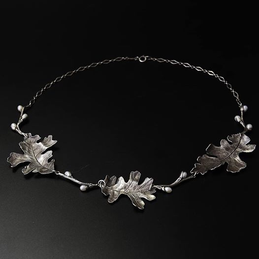 Recycled fine silver oak leaf Necklace with pearl pussy willow branches  Recycled fine silver, sterling, pearls