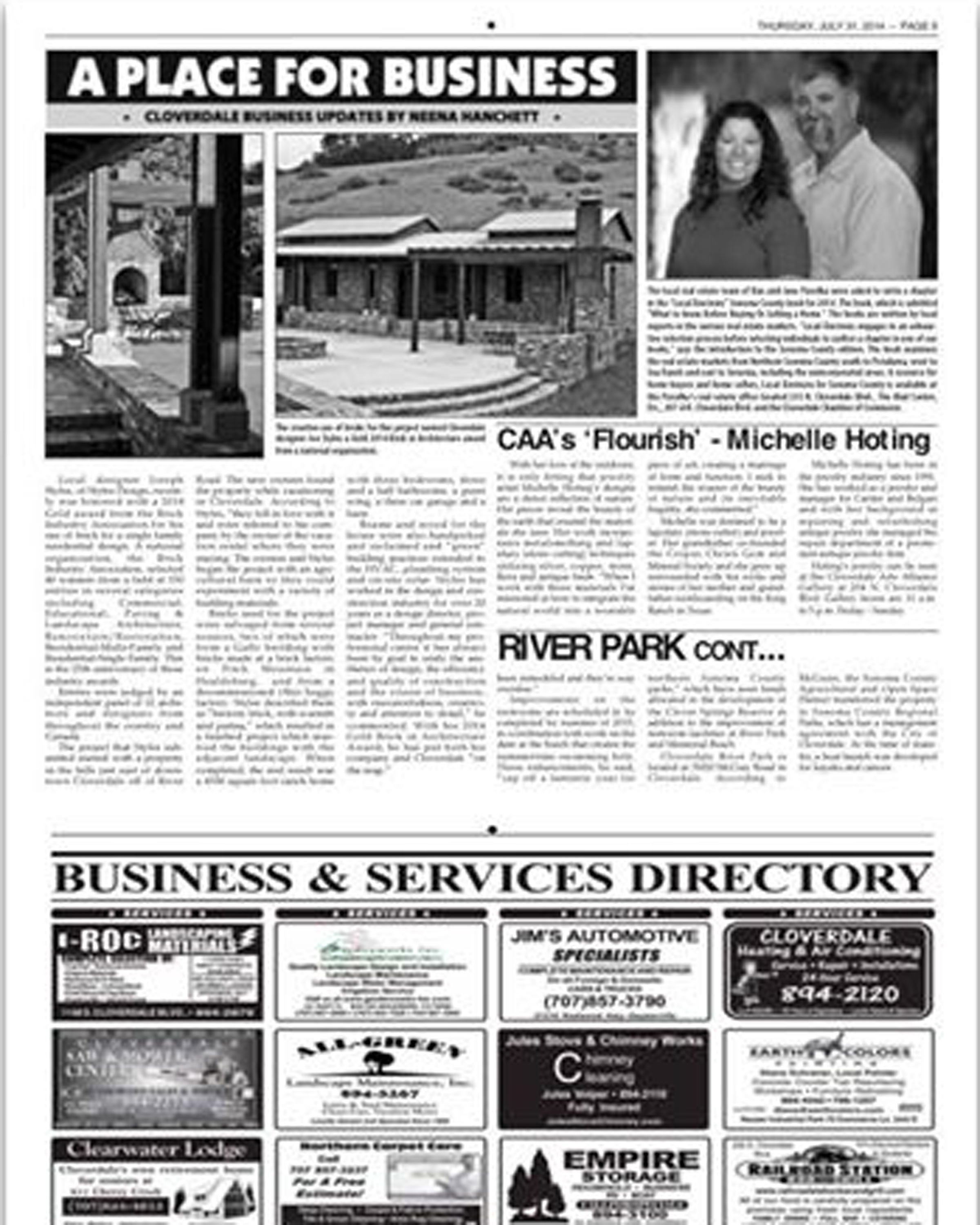 Cloverdale Reveille Newspaper on July 31 for the Flourish Art Show at The Cloverdale Arts Alliance Gallery.