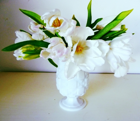 Tulips in vintage Milk Glass