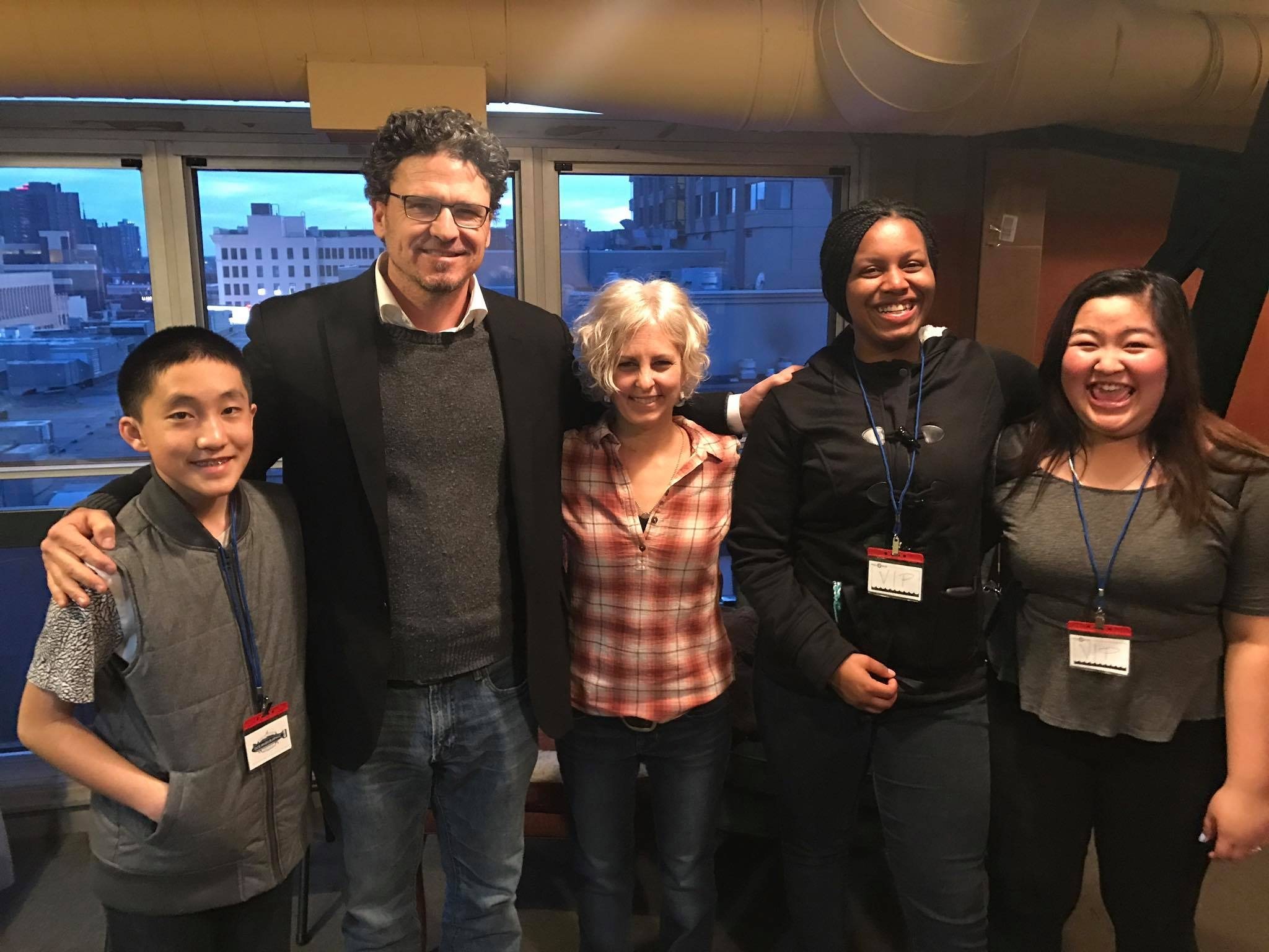 From left to right: Phillip, Dave Eggers, Kate DiCamillo, Kortney, Way.