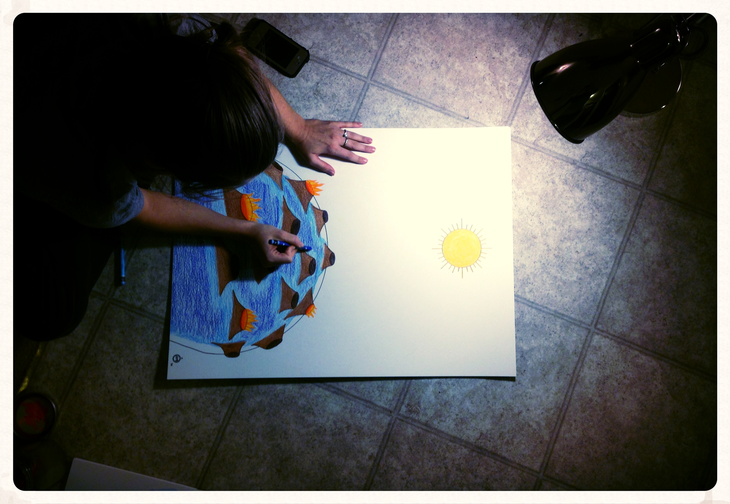 And yes, due to lack of desk space, I paint my charts in the kitchen floor!