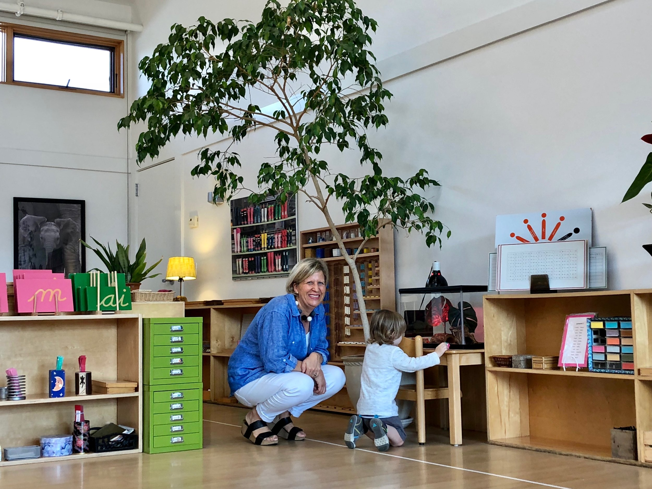 Oliver's very first visit in the Montessori Children's house. He looked at and touched everything in the classroom, but was most interested in Lily the Gecko.