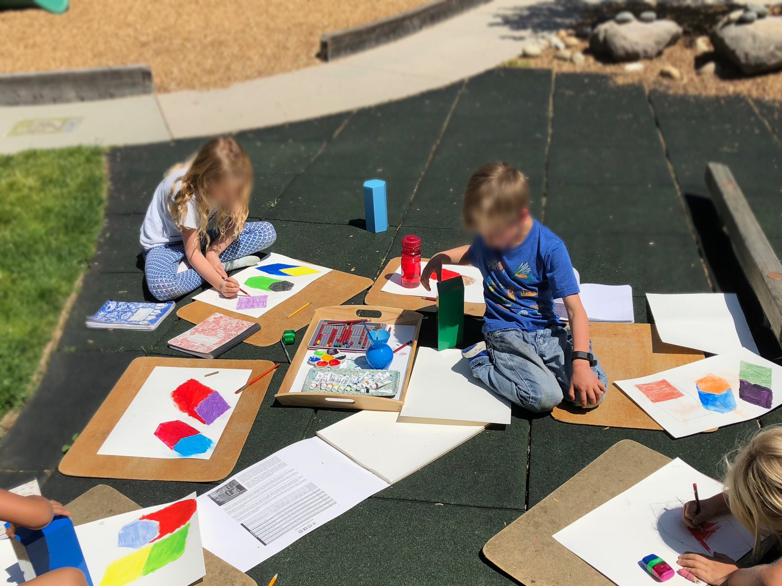 These friends got to spend an afternoon painting outside while experimenting with shadow art and the geometric solids.