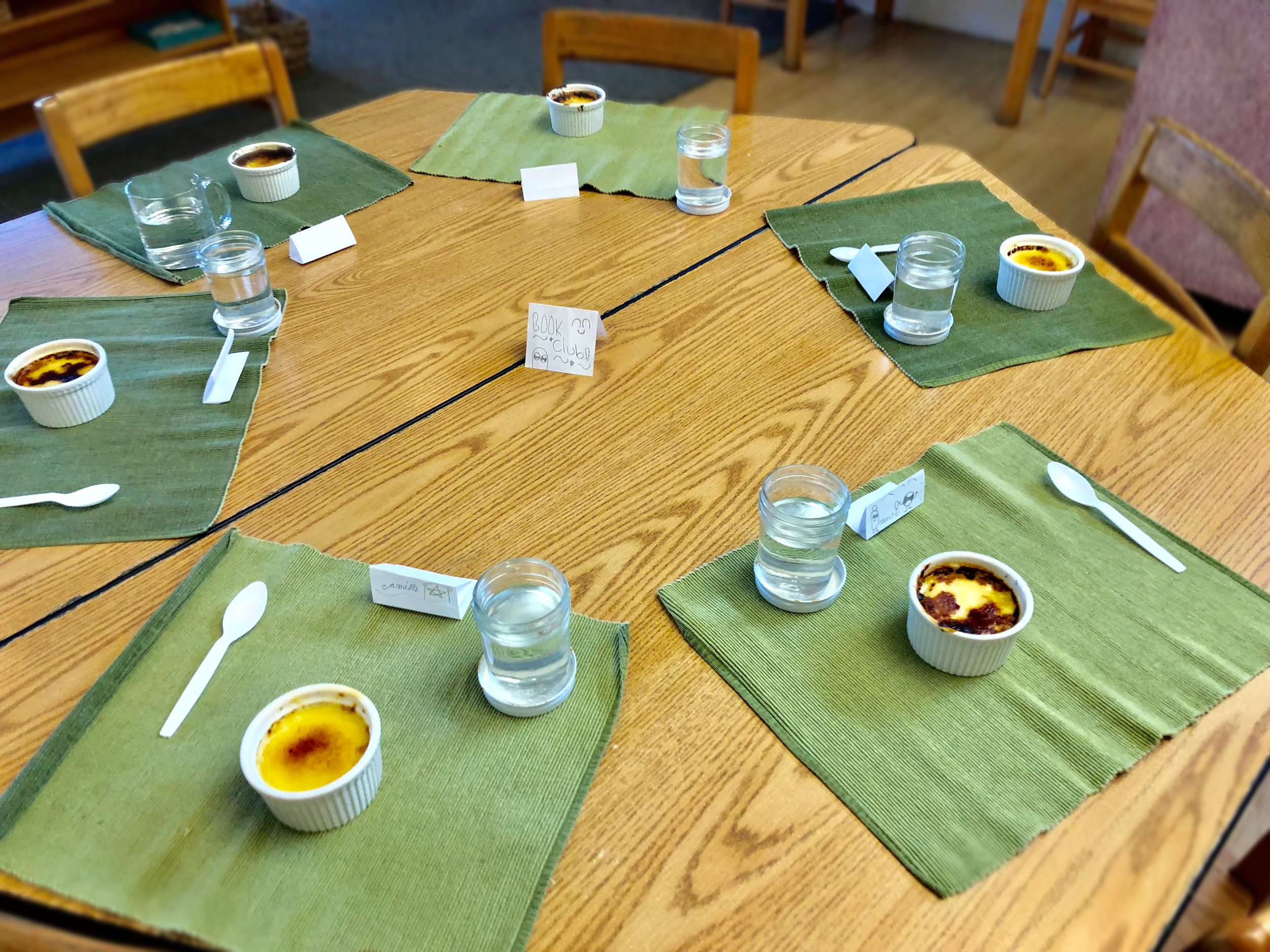 Another book club formed to read The Invention of Hugo Cabret, which was a hit. When they finished reading the book, the group celebrated by making a classic French dessert: crème brûlée!