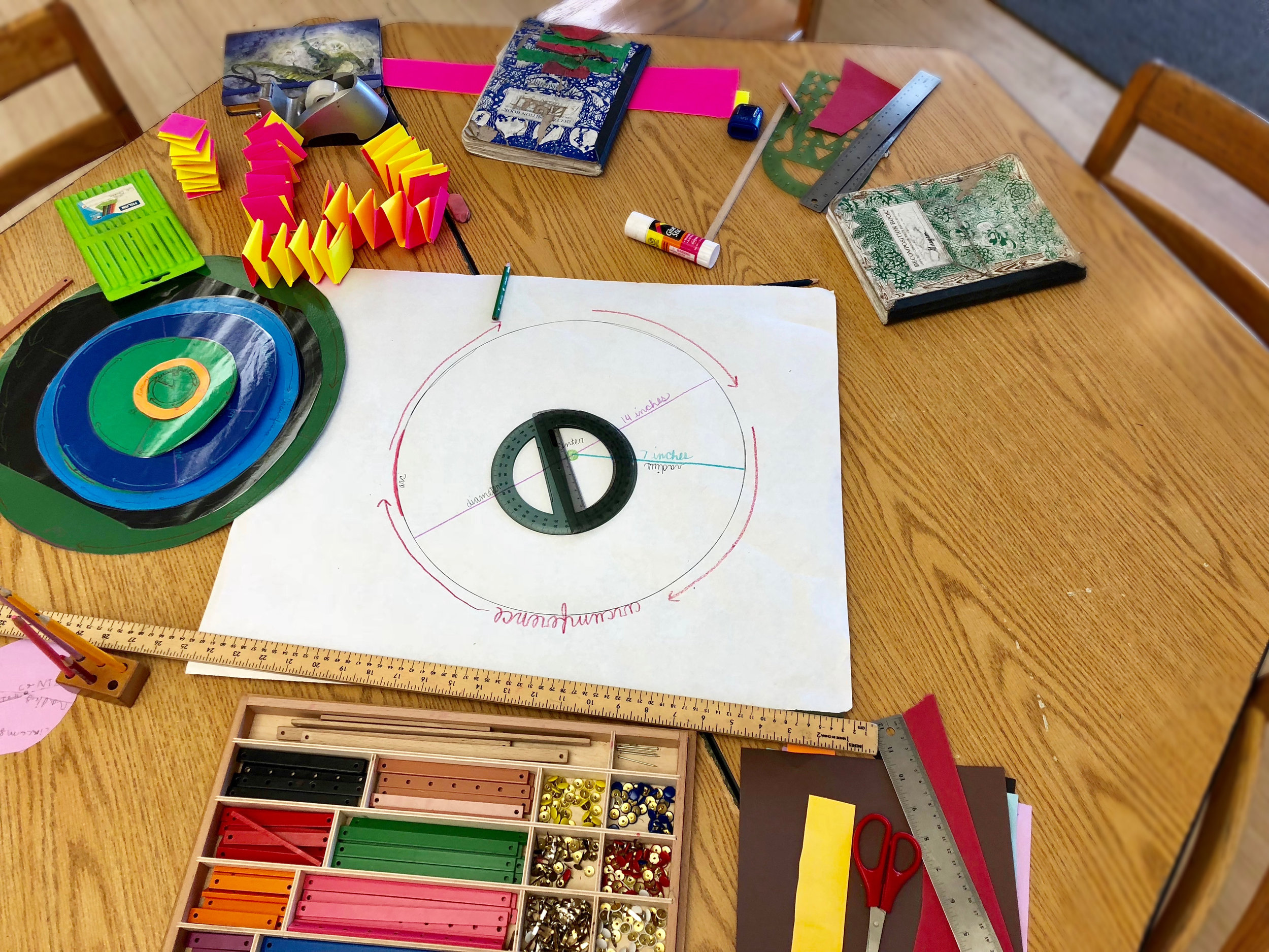 For follow-up to a circle lesson about measuring the radius and the diameter, this group made a pretty fantastic mobile by creating circles of different sizes.