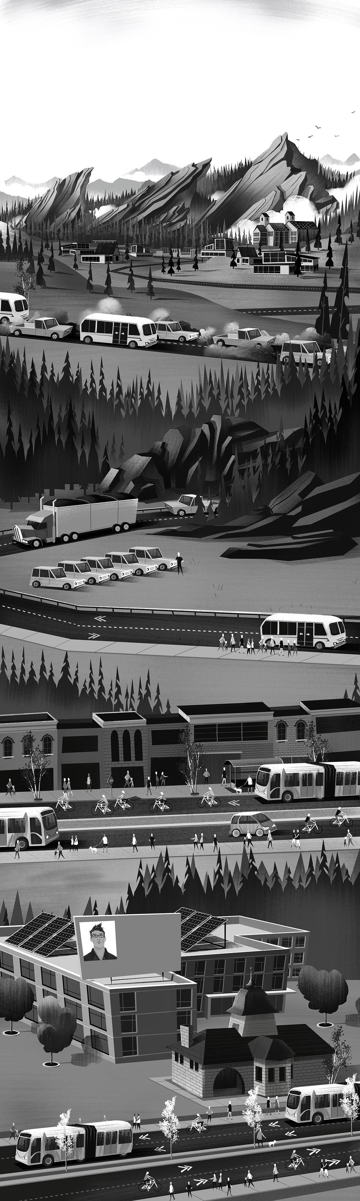 Black and White Polished Illustration